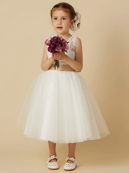 Princess Knee Length Wedding / First Communion Flower Girl Dresses - Lace / Tulle Sleeveless Jewel Neck With Sash / Ribbon / Bow(S)_1
