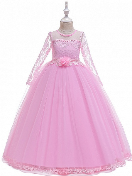 Princess Long Length Party / Pageant Flower Girl Dresses - Poly / Polyester / Cotton / Lace Long Sleeve Jewel Neck With Butterfly Design / Sash / Ribbon / Beading_3
