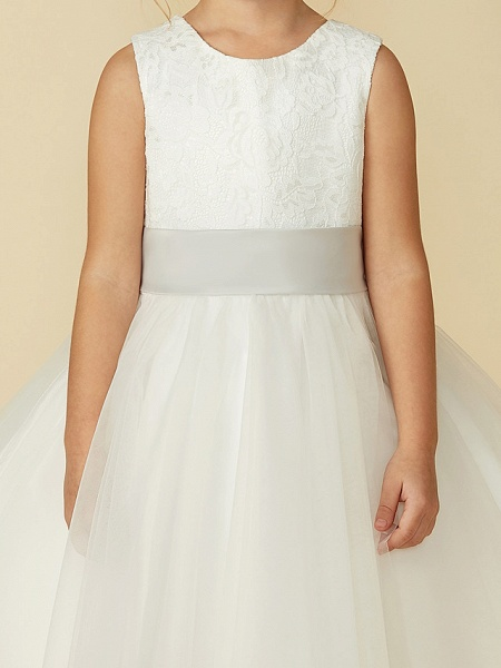 A-Line Tea Length Wedding / First Communion Flower Girl Dresses - Lace / Tulle Sleeveless Jewel Neck With Lace / Sash / Ribbon_7