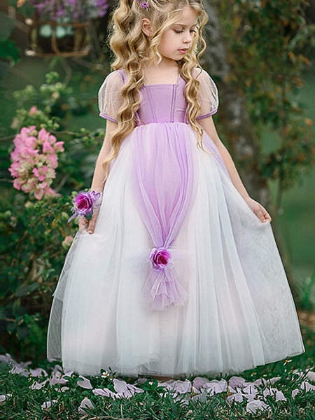 Princess Floor Length Pageant Flower Girl Dresses - Polyester Short Sleeve Scoop Neck With Splicing_2