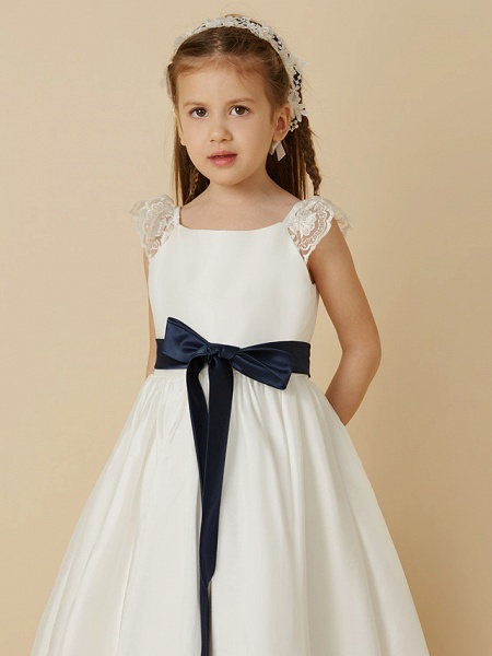 A-Line Ankle Length Wedding / First Communion Flower Girl Dresses - Taffeta Short Sleeve Scoop Neck With Sash / Ribbon / Bow(S)_4