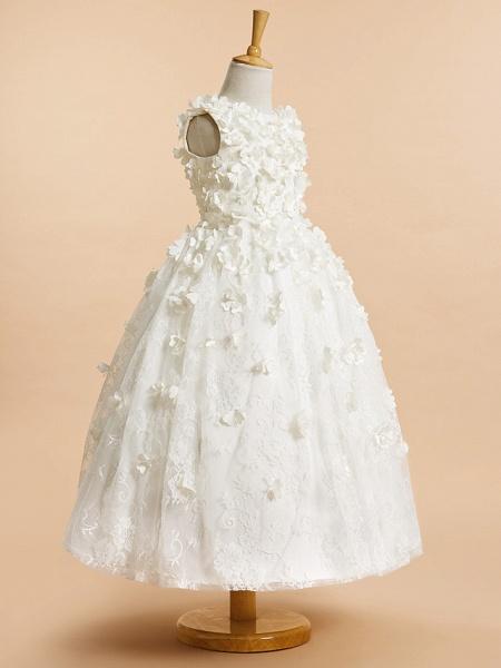 A-Line Tea Length Wedding / First Communion Flower Girl Dresses - Lace Sleeveless Jewel Neck With Flower_2