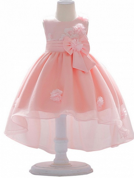Ball Gown Court Train Wedding / Party Flower Girl Dresses - Satin / Tulle Sleeveless Jewel Neck With Bow(S) / Appliques_1