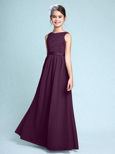 Sheath / Column Bateau Neck Floor Length Chiffon / Lace Junior Bridesmaid Dress With Lace / Natural_18