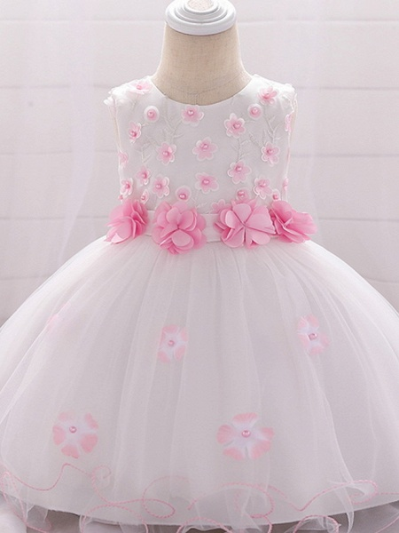 Ball Gown Floor Length Wedding / Party Flower Girl Dresses - Lace / Tulle Sleeveless Jewel Neck With Bow(S) / Tier / Appliques_2