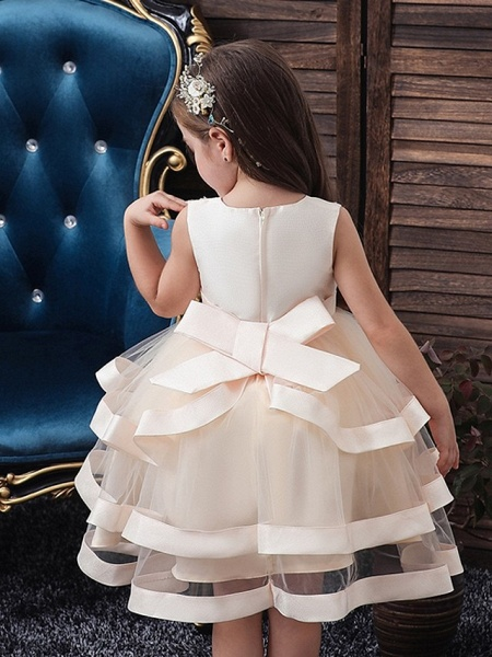 Princess / Ball Gown Knee Length Wedding / Party Flower Girl Dresses - Tulle Sleeveless Jewel Neck With Sash / Ribbon / Bow(S) / Tier_3
