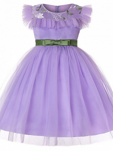 Princess / Ball Gown Floor Length Wedding / Party Flower Girl Dresses - Tulle Short Sleeve Jewel Neck With Sash / Ribbon / Bow(S) / Embroidery_2