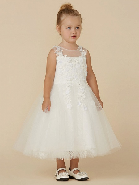Princess Tea Length Wedding / First Communion Flower Girl Dresses - Lace / Tulle Sleeveless Illusion Neck With Beading / Appliques_4