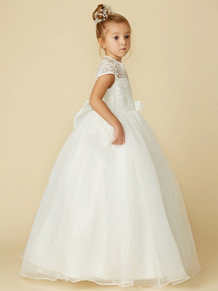 Ball Gown Floor Length Wedding / First Communion Flower Girl Dresses - Lace / Tulle Short Sleeve High Neck With Lace / Sash / Ribbon / Bow(S)_8