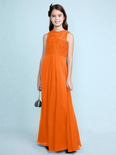 Sheath / Column Scoop Neck Floor Length Chiffon / Lace Junior Bridesmaid Dress With Lace / Natural_19