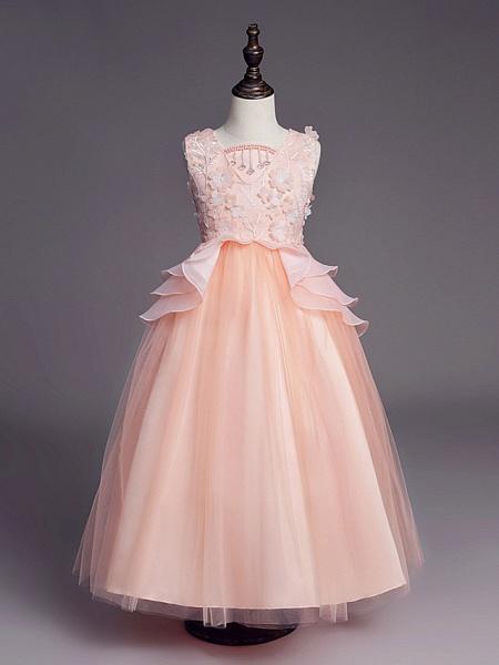 Princess Long Length Wedding / First Communion Flower Girl Dresses - Satin / Tulle Sleeveless Jewel Neck With Belt / Beading / Embroidery_6