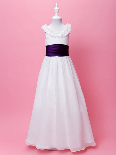 Princess / A-Line Floor Length First Communion / Wedding Party Chiffon Sleeveless Scoop Neck With Sash / Ribbon / Ruffles / Draping / Spring / Summer / Fall
