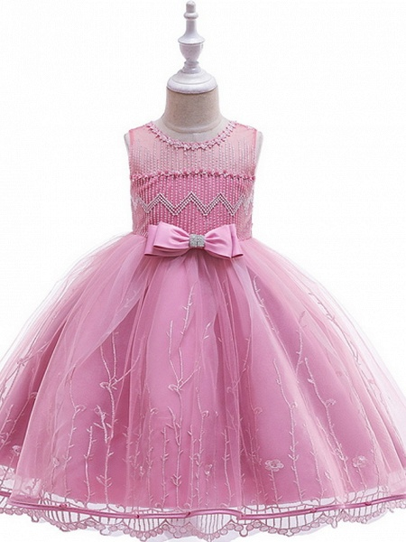 Ball Gown Floor Length Wedding / Party Flower Girl Dresses - Lace / Tulle Sleeveless Jewel Neck With Bow(S) / Embroidery_3