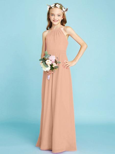 A-Line Halter Neck Floor Length Chiffon Junior Bridesmaid Dress With Sash / Ribbon / Natural_13