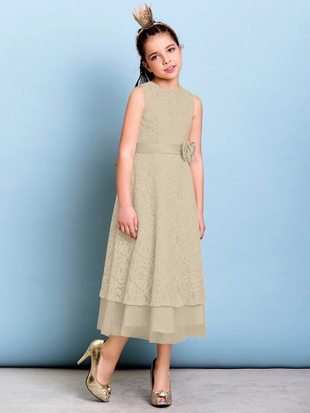 A-Line Jewel Neck Tea Length All Over Floral Lace Junior Bridesmaid Dress With Sash / Ribbon / Bow(S) / Flower / Natural_21