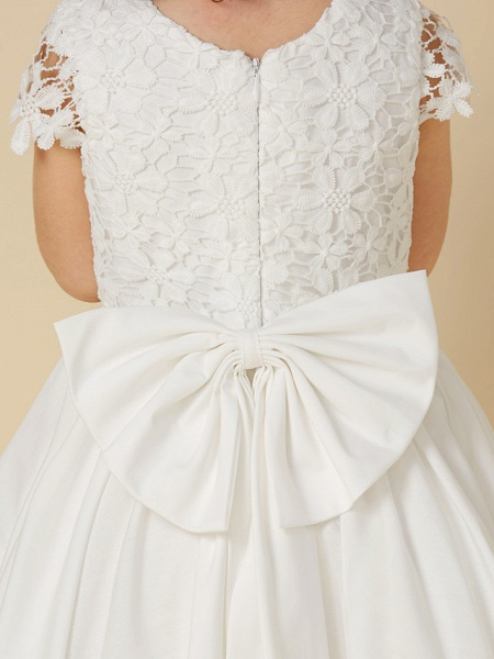 A-Line Knee Length Wedding / First Communion Flower Girl Dresses - Lace / Cotton Short Sleeve Scoop Neck With Bow(S)_7