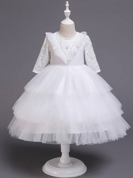 Princess / Ball Gown Knee Length Wedding / Party Flower Girl Dresses - Tulle 3/4 Length Sleeve Jewel Neck With Bow(S) / Beading / Cascading Ruffles_7