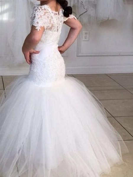 Mermaid / Trumpet Sweep / Brush Train Wedding Flower Girl Dresses - Tulle Short Sleeve Jewel Neck With Appliques / Solid_2