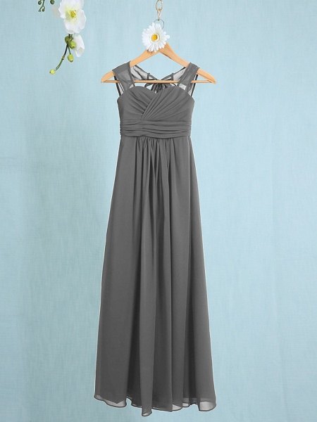 Sheath / Column Straps Ankle Length Chiffon Junior Bridesmaid Dress With Ruched / Natural_22