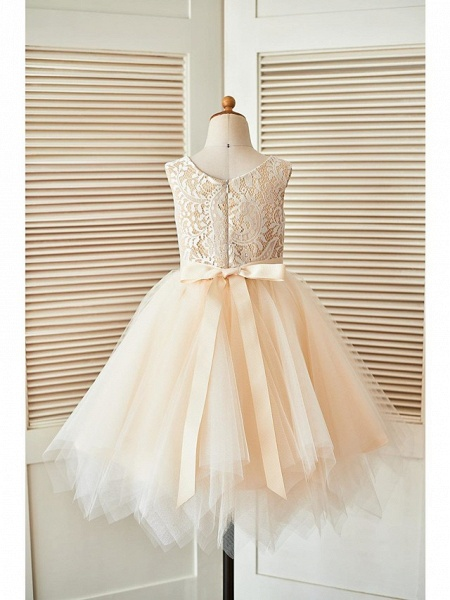 A-Line Knee Length Pageant Flower Girl Dresses - Lace / Tulle Sleeveless Scoop Neck With Sash / Ribbon_6