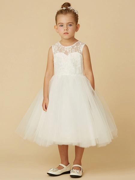 Princess Tea Length Wedding / First Communion Flower Girl Dresses - Lace / Tulle Sleeveless Jewel Neck With Sash / Ribbon / Bow(S)_4