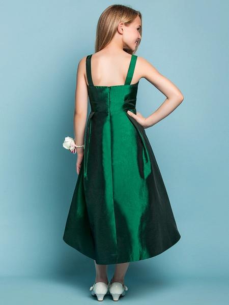 A-Line Straps Asymmetrical Taffeta Junior Bridesmaid Dress With Sash / Ribbon / Spring / Summer / Fall / Apple / Hourglass_4