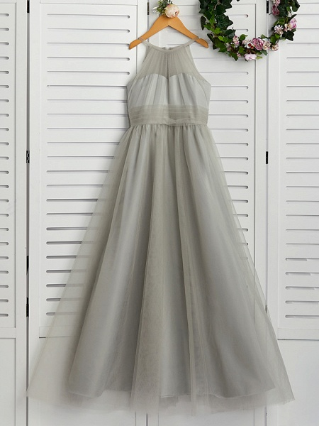 A-Line Crew Neck Floor Length Tulle Junior Bridesmaid Dress With Ruching_1