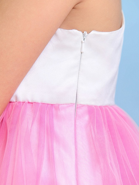 Ball Gown One Shoulder Tea Length Tulle Junior Bridesmaid Dress With Flower / Natural_8