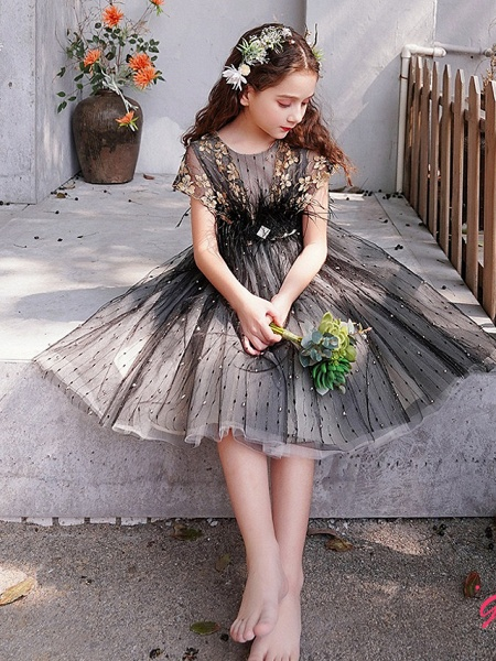 A-Line Knee Length Engagement Party / Pageant Flower Girl Dresses - Lace / Tulle Short Sleeve Jewel Neck With Feathers / Fur / Embroidery / Appliques_2