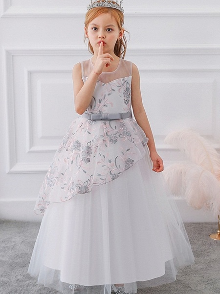Princess / Ball Gown Floor Length Wedding / Party Flower Girl Dresses - Tulle Sleeveless Illusion Neck With Sash / Ribbon / Bow(S) / Embroidery_2
