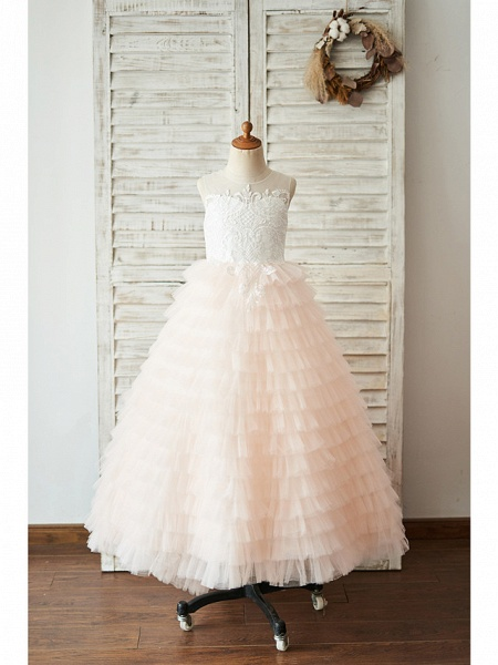 Ball Gown Floor Length Wedding / Birthday Flower Girl Dresses - Lace / Tulle Sleeveless Jewel Neck With Lace / Buttons_1