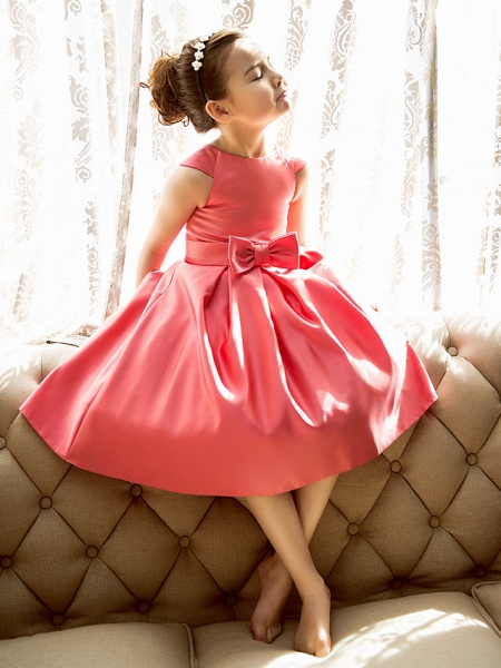 Princess / A-Line Tea Length Pageant Flower Girl Dresses - Satin Short Sleeve Jewel Neck With Bow(S)_1