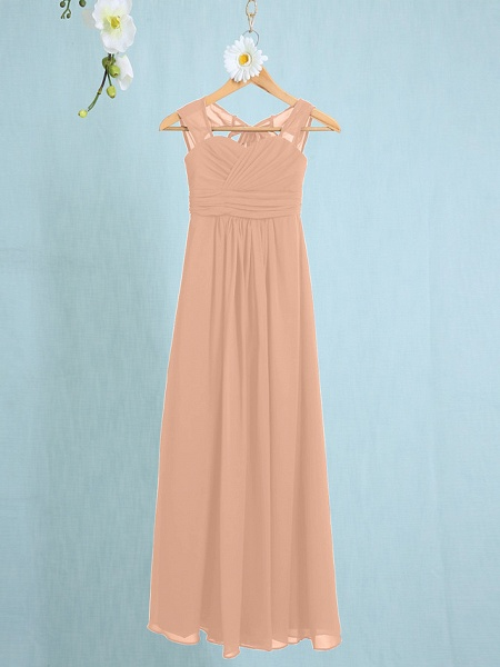 Sheath / Column Straps Ankle Length Chiffon Junior Bridesmaid Dress With Ruched / Natural_9