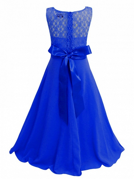 Princess / Ball Gown Maxi Party / Formal Evening / Pageant Flower Girl Dresses - Tulle / Poly&Cotton Blend Sleeveless Jewel Neck With Lace / Solid_12