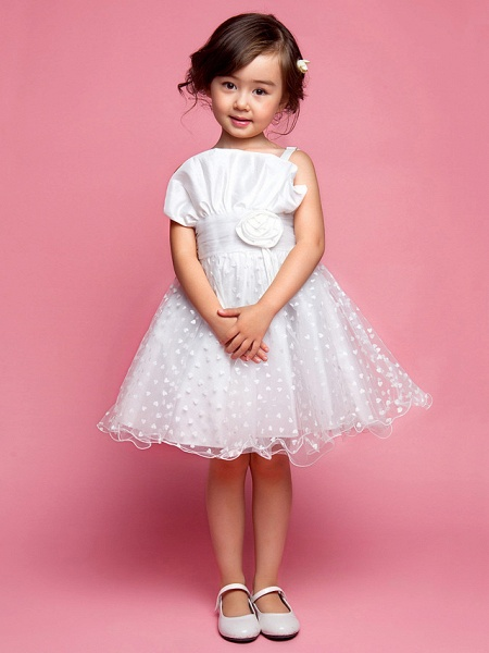 Princess / A-Line Knee Length Wedding Party Cotton / Polyester Sleeveless Spaghetti Strap With Lace / Flower / Spring / Summer / Fall_1