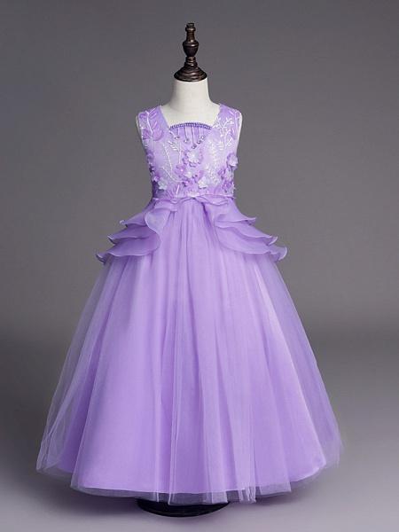 Princess Long Length Wedding / First Communion Flower Girl Dresses - Satin / Tulle Sleeveless Jewel Neck With Belt / Beading / Embroidery_12
