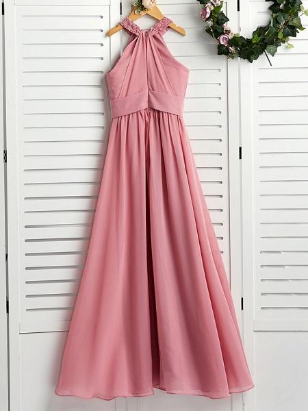 A-Line Halter Neck Maxi Chiffon Junior Bridesmaid Dress With Beading / Ruching_2