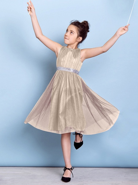 A-Line Jewel Neck Knee Length Tulle Junior Bridesmaid Dress With Sash / Ribbon / Sequin / Draping / Natural_15