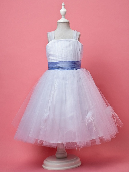 Princess / A-Line Knee Length Tulle Sleeveless Straps With Feathers / Fur / Sash / Ribbon / Ruched_1
