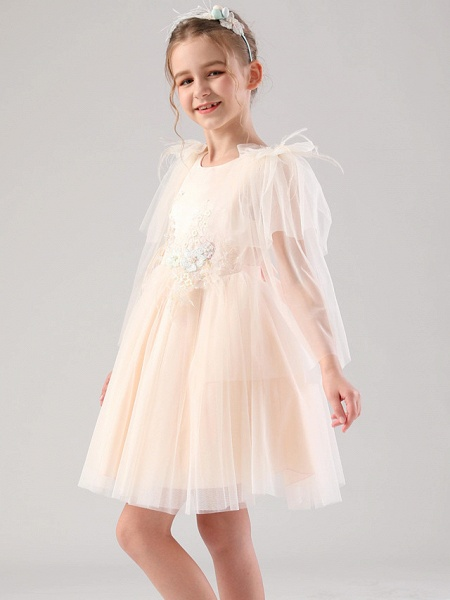 Princess / Ball Gown Royal Length Train / Medium Length Event / Party / Birthday Flower Girl Dresses - Satin / Tulle 3/4 Length Sleeve Jewel Neck With Feathers / Fur / Appliques / Butterfly_5