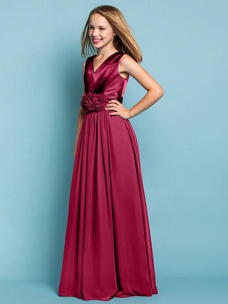 Sheath / Column V Neck Floor Length Chiffon Junior Bridesmaid Dress With Flower / Spring / Summer / Fall / Apple / Hourglass_21