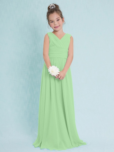 Sheath / Column V Neck Floor Length Chiffon Junior Bridesmaid Dress With Criss Cross / Ruched / Natural_28