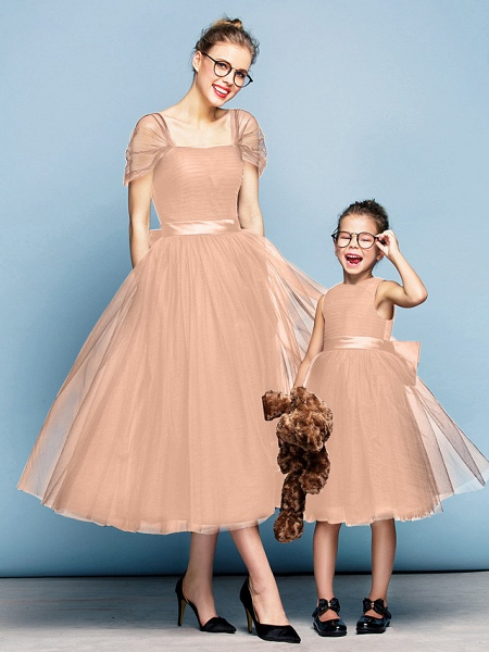 Princess Tea Length Party / Prom / Formal Evening Flower Girl Dresses - Tulle Short Sleeve Square Neck With Bow(S) / Ruched / Elegant_12