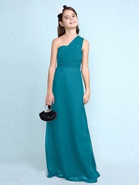 Sheath / Column One Shoulder Floor Length Chiffon Junior Bridesmaid Dress With Side Draping / Natural_30