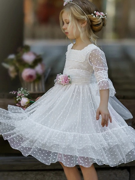A-Line Knee Length Wedding / Party Flower Girl Dresses - Tulle Half Sleeve Jewel Neck With Tier / Solid_3