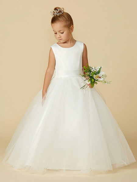 A-Line Floor Length Wedding / First Communion Flower Girl Dresses - Satin / Tulle Sleeveless Jewel Neck With Bow(S) / Buttons_7
