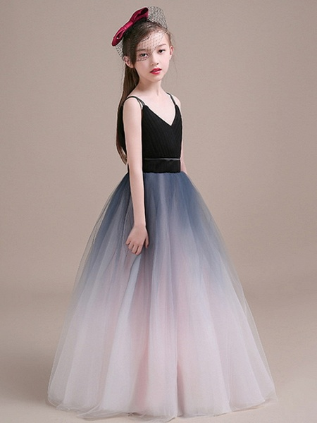 Ball Gown Floor Length Party / Pageant Flower Girl Dresses - Polyester Sleeveless Spaghetti Strap With Tiered_2