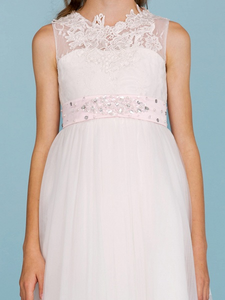 Princess / A-Line Crew Neck Ankle Length Lace Over Tulle Junior Bridesmaid Dress With Sash / Ribbon / Beading / Appliques / Wedding Party / Open Back_9
