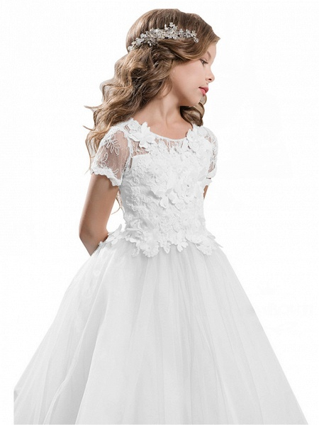 Ball Gown Sweep / Brush Train Wedding / Birthday / Pageant Flower Girl Dresses - Tulle / Cotton Short Sleeve Jewel Neck With Lace / Embroidery / Appliques_15