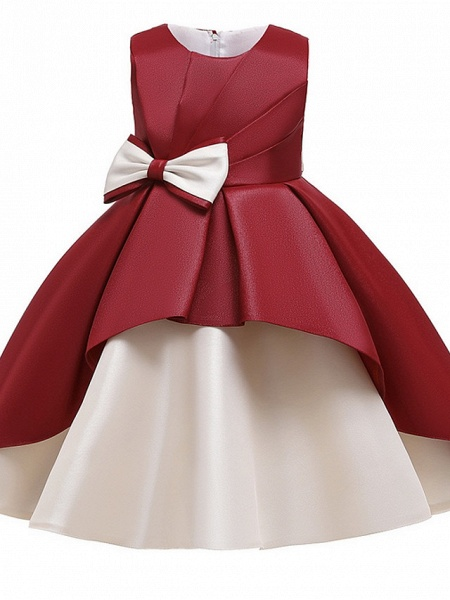 Princess / A-Line Knee Length Wedding / Party Flower Girl Dresses - Mikado Sleeveless Jewel Neck With Bow(S) / Tiered_11